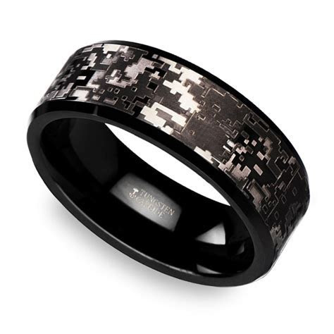 Digital Camo Men's Wedding Ring in Tungsten