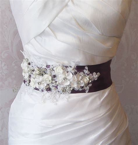 Eggplant Purple Sash, Deep Plum and White Bridal Sash