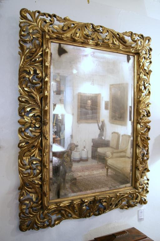 Antique Italian Carved Gilded Mirror With Antique Beveled Glass 47