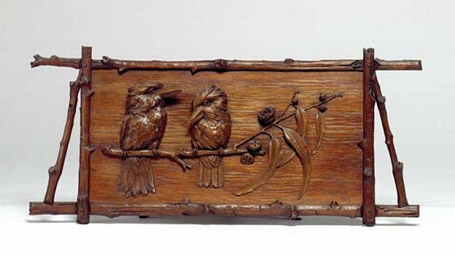 Robert Prenzel carved panel of two kookaburras on a eucalypt branch dated 1923