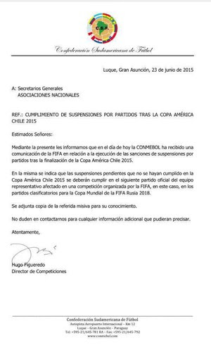 Fax da Conmebol sobre suspensão de Neymar (Foto: Reprodução Twitter)