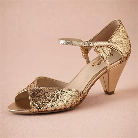 Gold Glitter Spark Wedding Shoe Handmade Pumps Leather