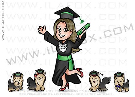 caricatura formatura, caricatura formanda, caricatura cachorrinhos, caricatura divertida, by ila fox