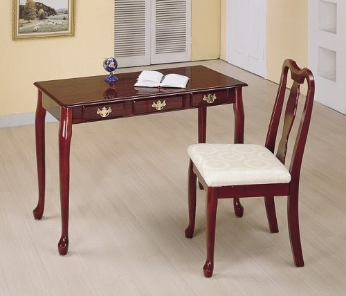 Antique Hutch Cherry Finish Queen Anne Writing Desk And