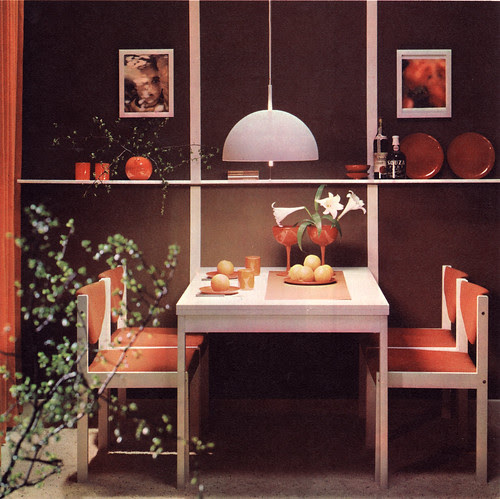 orange and brown dining