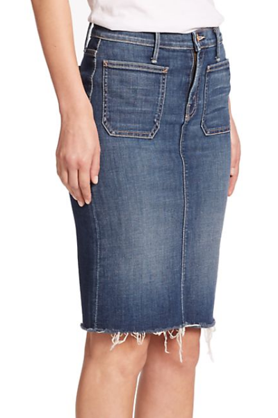 Mother High-Waist Denim Pencil Skirt