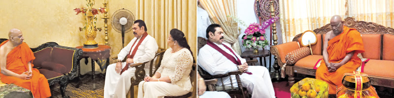 Prime Minister Mahinda Rajapaksa called on the Malwatte Chief Prelate Most.Ven. Thibbotuwawe Sri Siddhartha Sumangala Thera (L) and Asgiriya Chief Prelate Most Ven. Warakagoda Sri Gnanarathana Mahanayake Thera at their respective Aramayas in Kandy yesterday. (See also page 06). Pictures by Asela Kuruluwansa