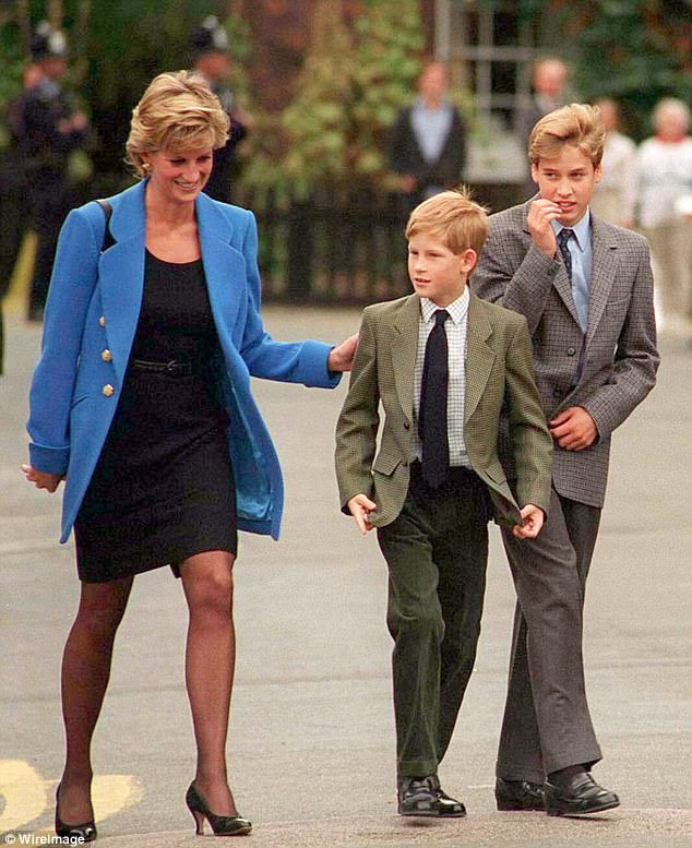 Prince William with Diana, Princess of Wales and Prince Harry on the day he joined Eton in September 1995