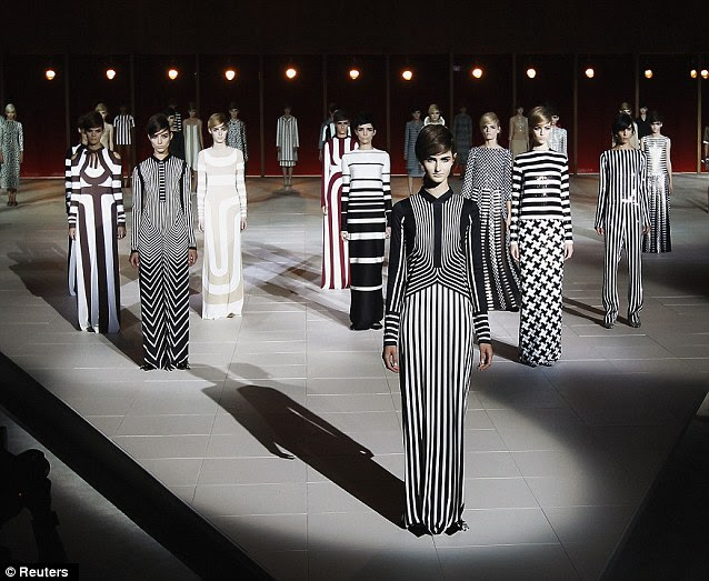 Memorable: Vertical and horizontal stripes of Marc Jacobs' Spring/Summer 2013 collection make their mark