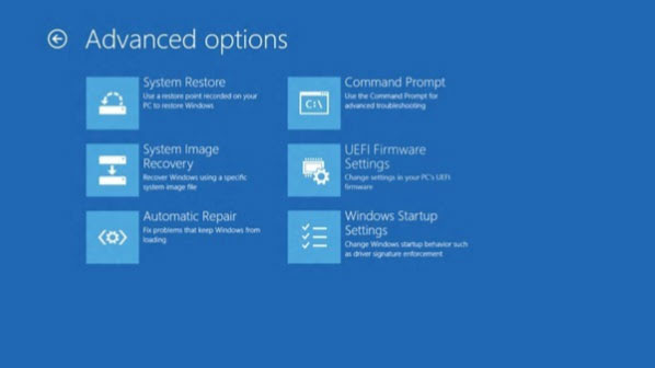 advanced options on Windows 8