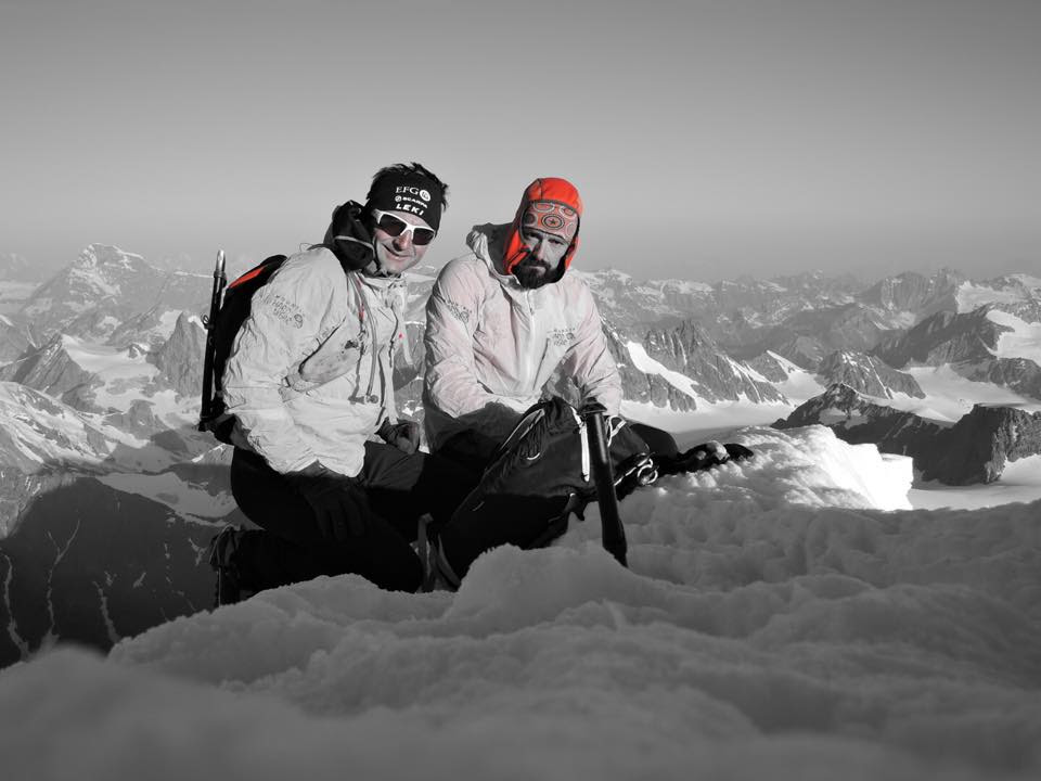 Ueli Steck and Andi Wälchli on the summit of Dent d'Hérens.  Photo 82 Summits Facebook page