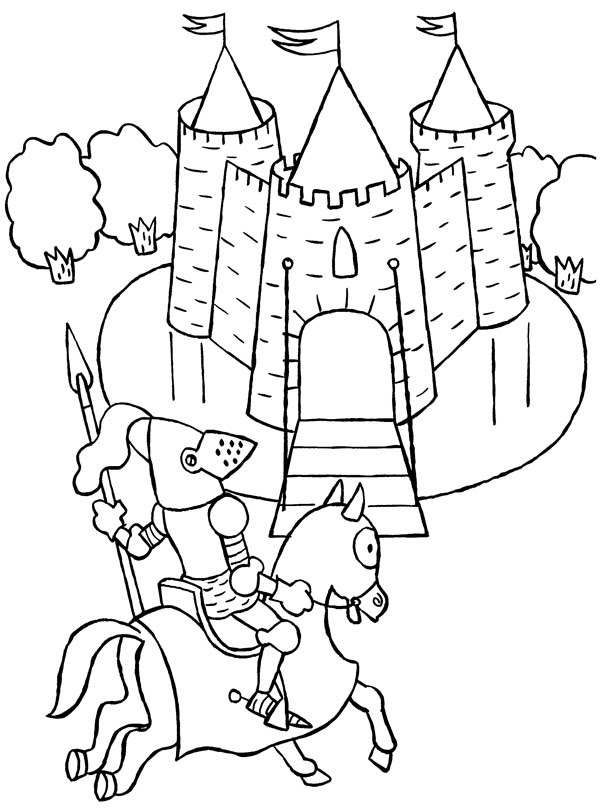 Knight Ride a Horse to Castle Coloring Page | Coloring Sky