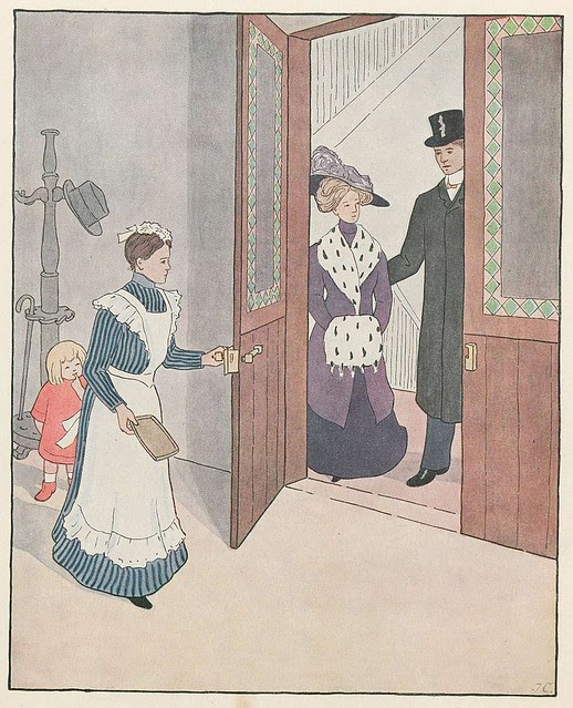 coloured lithograph of upper class Victorian couple visiting household