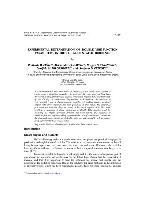 (PDF) Experimental determination of double vibe function