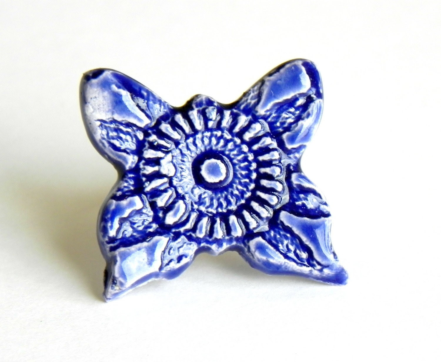 Lace Ceramic Cocktail Ring Oversized Royal Blue Butterfly Pottery Adjustable Silver Ring - Ceraminic