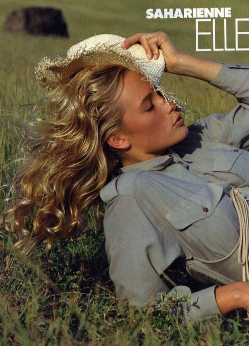 """""""Elle Joue Les Vamps"""", Elle France, March 1987Photographer: Bill KingModel: Estelle LefebureHair: Madeleine Cofano for Bruno"""