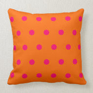 Orange Pink Polka Dots American MoJo Pillow throwpillow