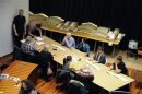 Officials count ballot papers during Iceland's general elections in Reykjavik City Hall