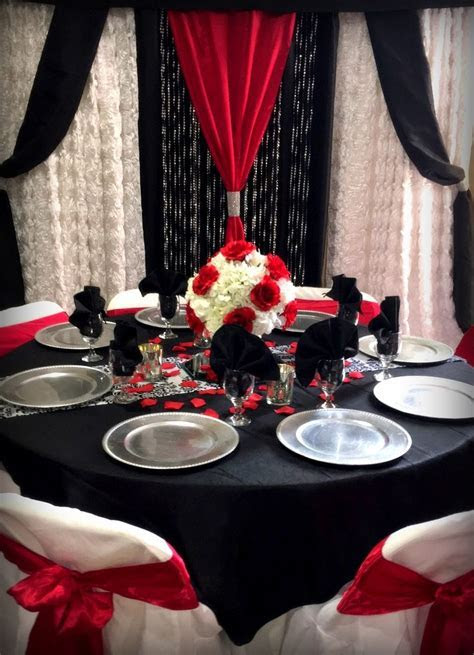 Red,Black and white table with matching backdrop   Wedding