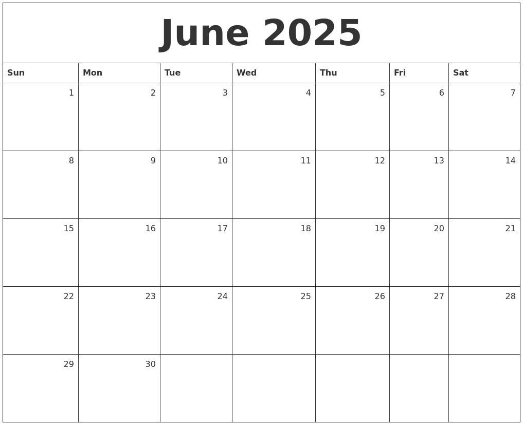 june 2025 monthly calendar