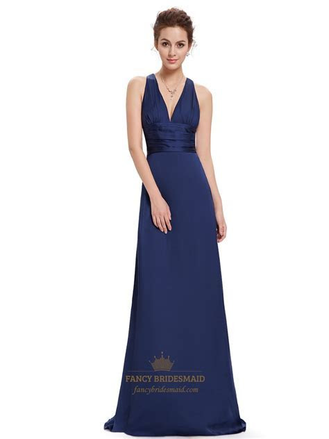 Navy Blue V Neck Sheath Criss Cross Back Bridesmaid