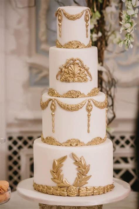 Baroque Wedding   White And Gold Baroque Wedding Cake