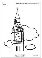 Saat Kulesi Boyama Sayfaları