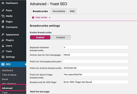 WordPress SEO - Breadcrumbs