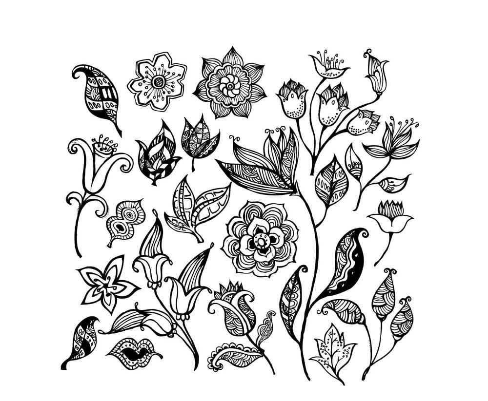 coloriage fleurs eglantine · coloriage fleurs multiples