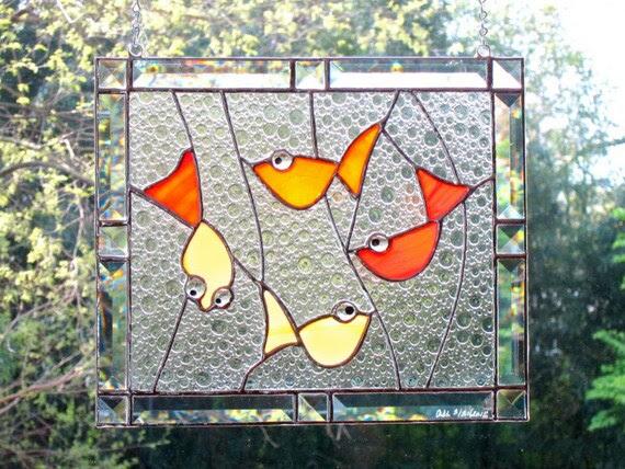 Goldfish Stained Glass Window Panel Red Orange Bevels Lucky Carp Handmade OOAK