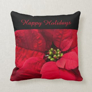 Happy Holidays Poinsettia Throw Pillow