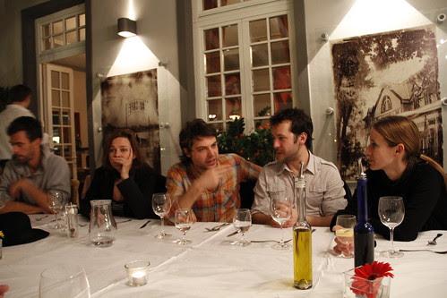 Axel the german filmmaker, Marietta my tutor, Virgil and Julien the french filmmakers and Haneke the script editor