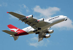 English: Qantas Airbus A380 (VH-OQA) takes off...