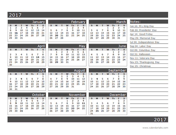2017 12-Month Calendar Template One Page - Free Printable Templates