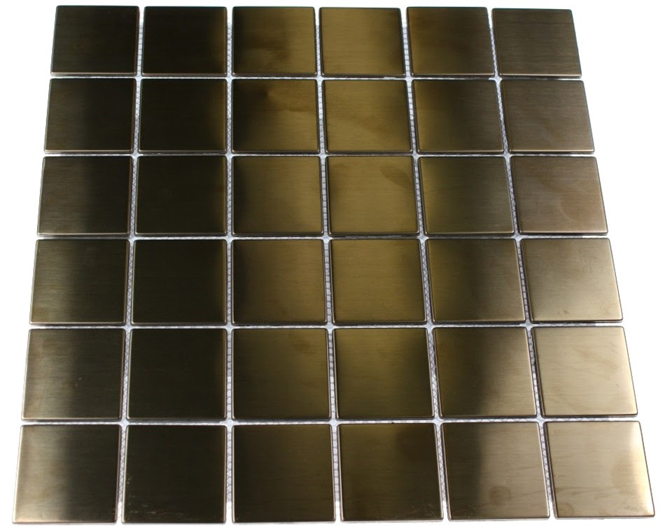 Shop 12x12 Metal Square Mosaic in Matte Copper Stainless Steel at ...