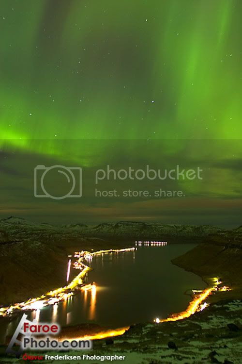 Faroe Islands, Aurora over Kollafjordur, a village on the Island of Streymoy's east cost