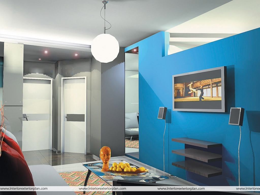 Interior Exterior Plan Blue And Gray Combination Living Room