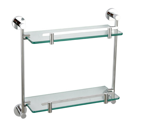 Wall Mounted Double Glass Shelf 8102 Bathroom Glass Shelf By