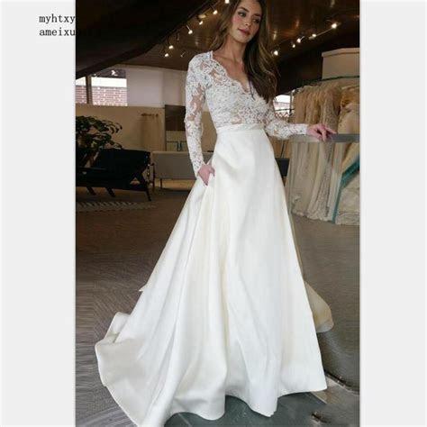 Custom Made Plus Size Long Sleeve Wedding Dress 2019 V