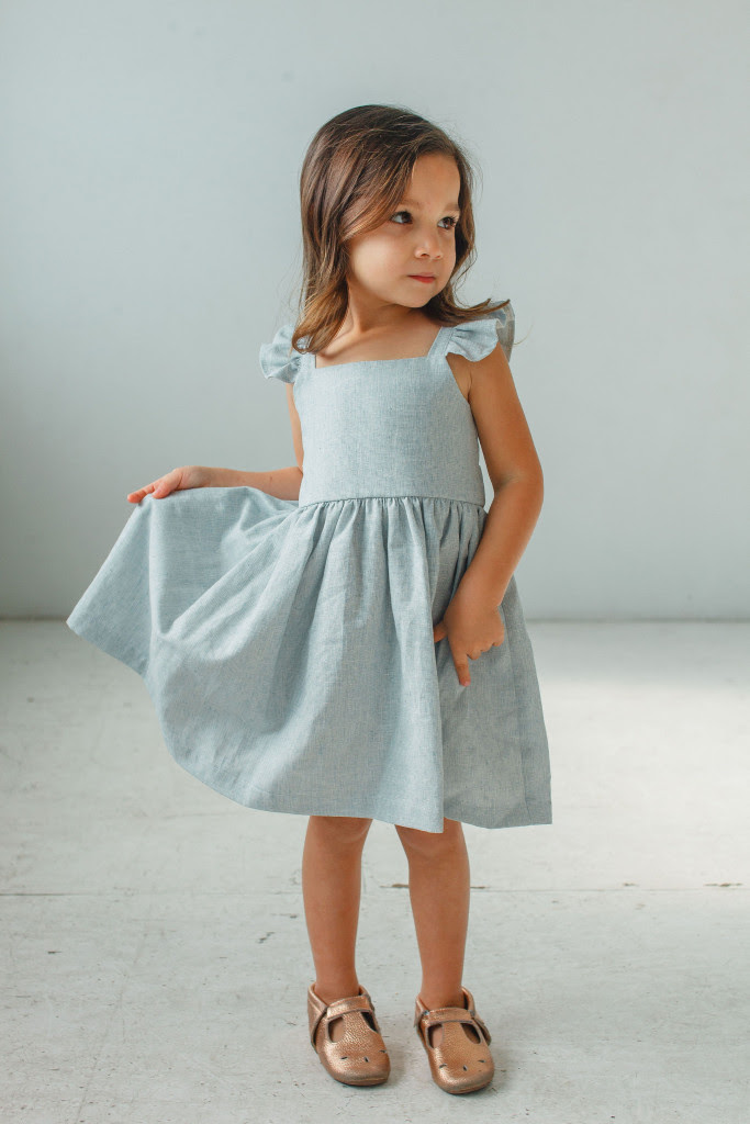 little girls Easter dresses - blue linen flutter sleeve dress