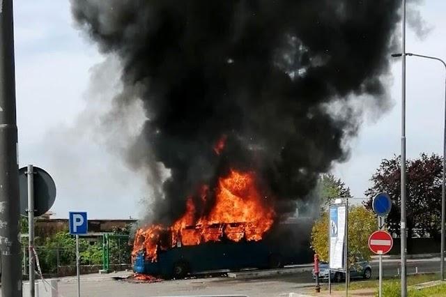 Incendio a Lanuvio, in fiamme bus Cotral: fumo nero visibile ai Castelli Romani