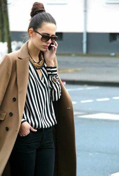 stripes + statement accessories