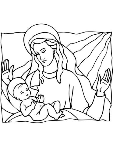 Dibujo De María Y El Niño Jesús Para Colorear Dibujos Para