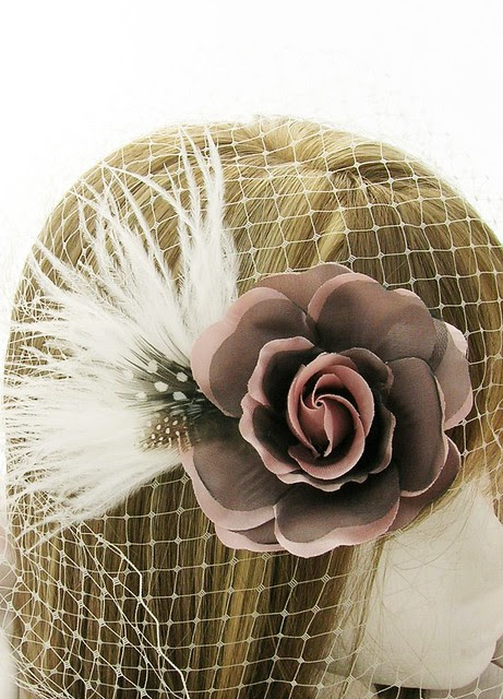 Belle Rose Purple - mauve purple rose, natural spotted guinea hen feathers, ostrich feather, Parisian, French, Oh la la, lovely, modern chic