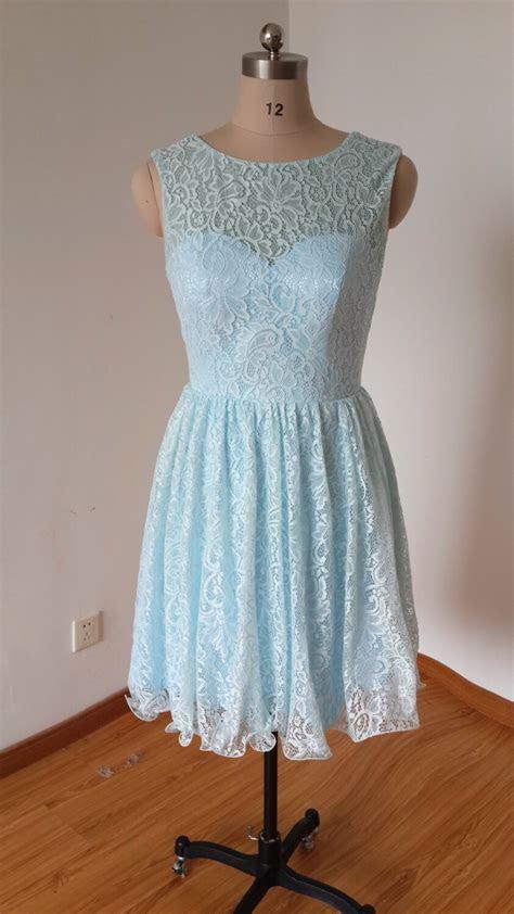 Blue Lace Bridesmaid Dress, Short Bridesmaid Dresses