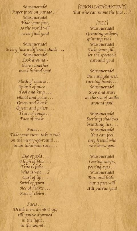Masquerade Phantom Of The Opera Lyrics