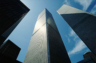 The World Trade Center Twin Towers as seen from the ground, looking straight up