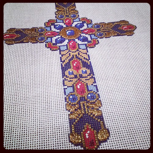 Progress on needlepoint cross. Almost all the gold is done!