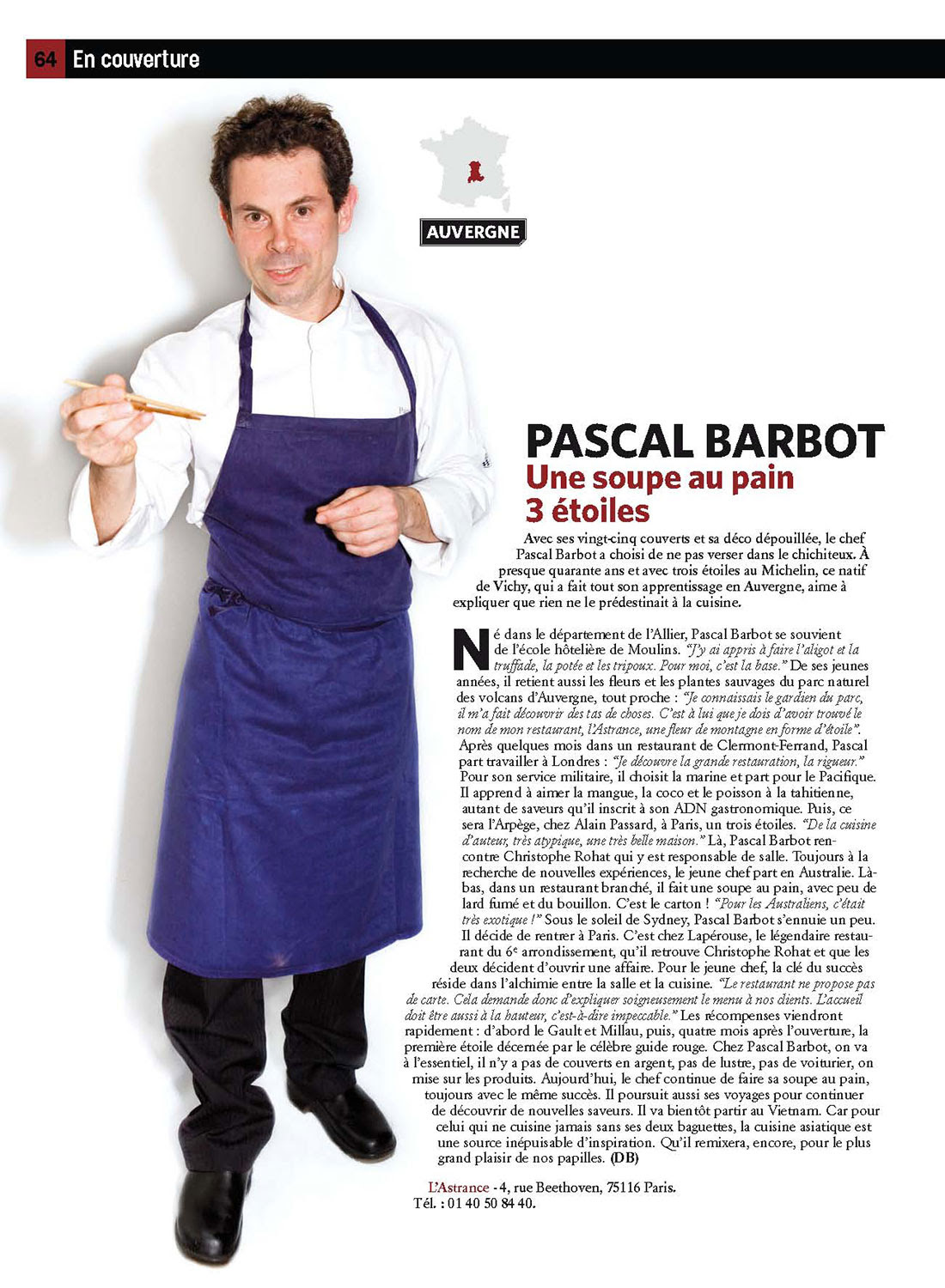 Magazine Vivre Paris 11 Portraits De Pascal Barbot Chef