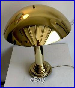 Mcm Style Brass Gold 80s Art Deco Revival Mushroom Dome End Table Desk Lamp Large Table Lamp
